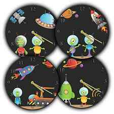CHILDRENS Novelty Character Wall Clock Boys ALIEN SPACESHIP UFO Design