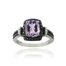 925 Silver 1.5ct Amethyst & Black Diamond Accent Rectangle Ring