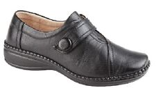 ladies BLACK WIDE FIT VELCRO SHOES EEE LEATHER LINED COMFORT