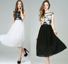 Womens European Style Graceful Embroidery Summer Floral Chiffon Lace Slim Dress