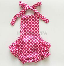 Baby Infant Girl Halter Ruffles Romper Polka Dot Birthday Party Outfits Jumpsuit