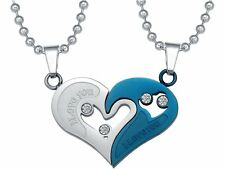 1Pair Mens Womens Stainless Steel Love Heart Puzzle Pendant Couple Necklaces