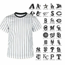 Men American Baseball Jersey Custom Logo Printed Black Stripe T shirt Tee Blank