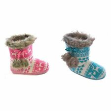 Childrens/Kids/Girls Reindeer Pattern Knitted Winter Boot Slippers
