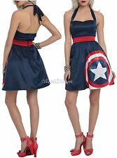 NEW Marvel Her Universe Avengers Captain America Halter Cosplay Dress Hot Topic