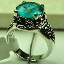 Classic Vintage Circular Jewelry Blue Topaz 925 Sterling Silver Ring size 7 8 9