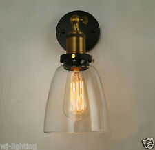 LED Industrial Clear Glass Wall Chandelier Light Shade Vintage Retro Edison Lamp