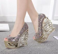New sexy high heels wedge open toes sequin women's sandals nightclub party shoes