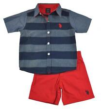US Polo Assn Toddler Boys Blue Woven Shirt 2pc Red Short Set Size 2T 3T 4T $36