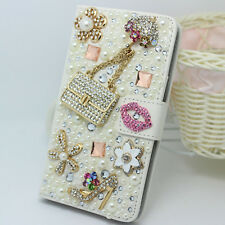 crystal Lip Bag flowers Diamonds PU leather wallet flip slot stand Case cover #4