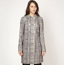DEBENHAMS PRINCIPLES BY BEN DE LISI DOUBLE BREASTED SNAKE SKIN EFFECT BEIGE COAT