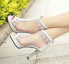 White lace open top heels Bridal ankle strap wedding shoes sandal boots size