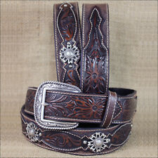WESTERN ARIAT LEATHER MENS BELT ROWEL BROWN OILED ROWDY 32-46 inches