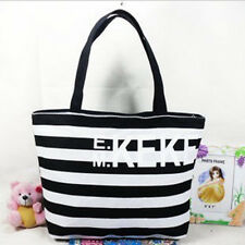 girl's fashion chromatic stripe canvas shoulder bag contracted handbag schoolbag