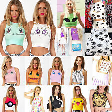 Women Sports Cartoon Print Crop Shirt Chaleco Vest Tee T-shirt Bare Midriff Cami