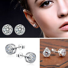 Unisex Silver Plated Round Simulated Diamond Ear Studs Earrings 5 6 7 mm
