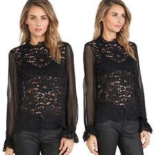Women's Embroidery Lace Crochet Tee Chiffon See-through Shirt Tops Blouse Black