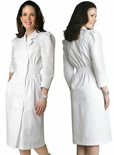 Womens Fitted Midriff Medical Nursing Embroidered Scrub Dress Uniform SZ4-26 NWT