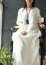"""T39 51"""" Casual Maxi Plus Size Layered Cotton Linen Womens Long Dress Gown Caftan"""