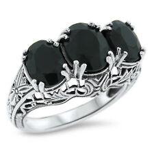 GENUINE BLACK ONYX 3 STONE ANTIQUE DESIGN .925 STERLING SILVER RING,        #763