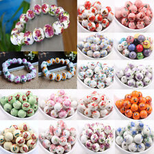10/20Pcs Flower Pattern Round Ceramic Porcelain Loose Spacer Beads Charms 12mm