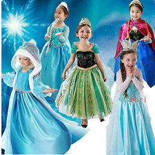 Kids Girls Costume Cosplay Party Princess Frozen Elsa Anna Dress