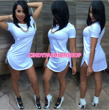 New  Style Woman T Shirt Tops Cropped Side Slit Casual  Crop Tops Bandage Dress