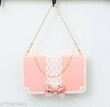 3D Crystal Pearl Bowknot Handbag Leather Wallet Case Cover For Smart Mobile 2