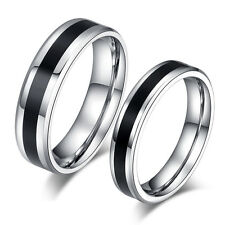 Fashion Mens Womens Stainless Steel Couples Love Ring Black Silver Two Tone Band