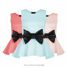 LADIES WOMENS PEPLUM FLARED SLEEVELESS VEST BOW FRILL BODYCON SKATER TOP 6-14