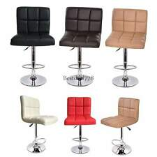 SET OF ((2)) BAR STOOLS LEATHER MODERN HYDRAULIC SWIVEL DINING CHAIR BARSTOOLS