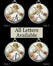 "Letters Initials Vtg Angels Cherub Dream Necklace 1"" Silver Pewter Charm Pendant"