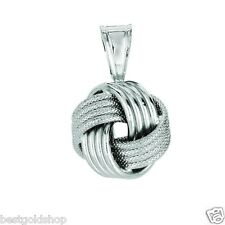Shiny Textured Love Knot Pendant Box Chain Necklace Real 925 Sterling Silver