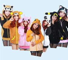 Warm Polar Fleece Animal Cute Cartoon Hoodie With Ears Hooded Hoody Coat Jacket