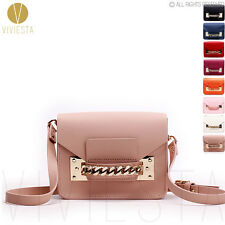 GENUINE LEATHER CHAIN MINI ENVELOPE BAG Women Shoulder Clutch Crossbody Handbag