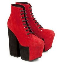 Jeffrey Campbell Freda Red Chunky Heel Platform Ankle Boots UK5 / 38 or UK7 / 40