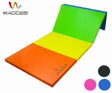 "Wacces Folding Mat 4x8 x2"" Gymnastics Gym Exercise Aerobics Yoga Play Blue Black"