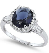 925 Sterling Silver Blue Sapphire CZ Ring