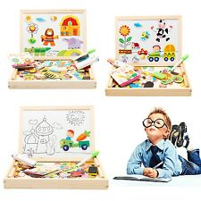 Adjustable Wooden Black/White Board Magnetic Puzzle Drawing Writing For Children