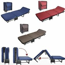 Folding Bed Rollaway Guest Bed Steel Frame With Foam Mattress With Cover 2 Sizes