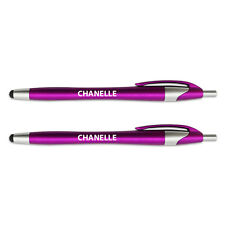 Pink Stylus Ball Point Pen for Touch Screen Devices 2 Pack Names Female C Chan