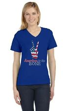 4th of July - USA Patriotic American to The Bone V-Neck Women T-Shirt Peace Sign