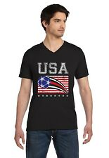 USA Womens Soccer Ball | Flag World Championship 2015 V-Neck T-Shirt US Team