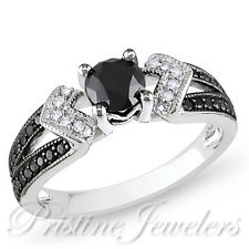 925 Sterling Silver Black & White Micro Pave Ring Bridal Engagement Wedding Band