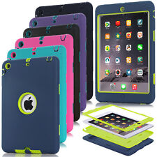 Heavy Duty Shockproof Rugged Silicone PC Combo Hard Case Cover For iPad mini 123