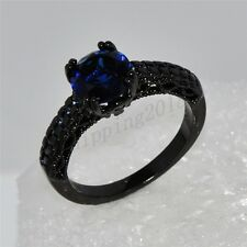 Jewellery Rings Sz 6-10 Blue Sapphire CZ Women's Black Gold Filled Wedding Gift