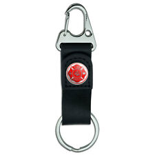 Belt Clip On Carabiner Leather Keychain Fabric Key Ring Firefighter Firemen