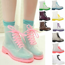 LADIES WOMENS JELLY BOOTS LACE UP WELLIES RAIN RUBBER CLEAR DOC SHOES SIZE