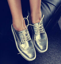 Brogues Women Lace Up Flat Platform Creeper Oxford Wingtip College Fashion Shoes