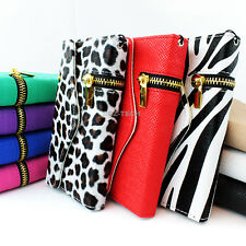 For Apple iPhone 4 4G 4S Zipper Flip Wallet PU Leather Hybrid Case Cover Pouch